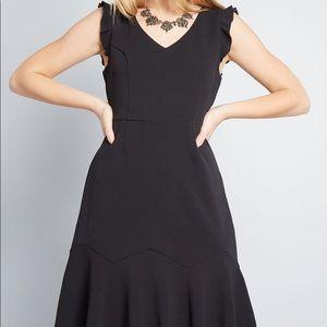 Modcloth Engaging Ways Black Ruffle Dress
